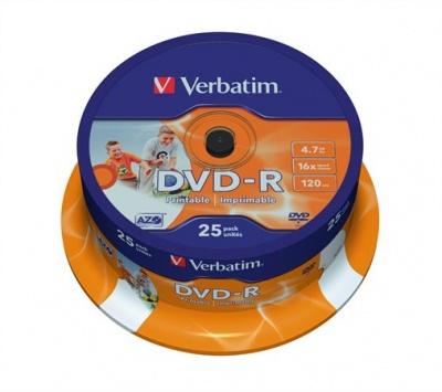 DVD-R lemez, nyomtathat�, matt, ID, 4,7GB, 16x, hengeren, VERBATIM