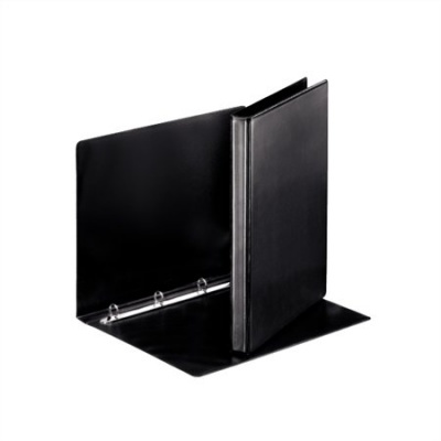 Gy�r�s k�nyv, panor�m�s, 4 gy�r�, 25 mm, A4, PP/PP, ESSELTE, fekete