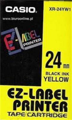 Feliratoz�g�p szalag, 24 mm x 8 m, CASIO, s�rga-fekete