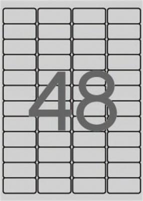 Etikett, 45,7x21,2 mm, poli�szter, id�j�r�s�ll�, kerek�tett sark�, APLI, ez�st, 4800 etikett/csomag