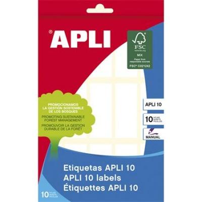 Etikett, 20x50 mm, k�zzel �rhat�, kerek�tett sark�, APLI, 150 etikett/csomag