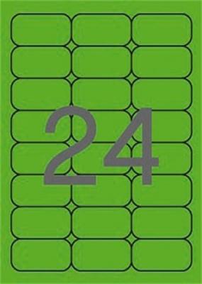 Etikett, 64x33,9 mm, sz�nes, kerek�tett sark�, APLI, neon z�ld, 480 etikett/csomag