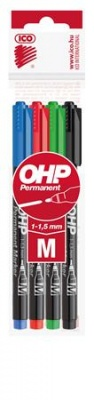 Alkoholos marker k�szlet, OHP, 1-1,5 mm, M, ICO, 4 k�l�nb�z� sz�n